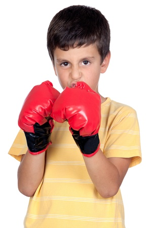 Funny boy with boxing gloves isolated on white photo