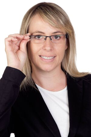 eyestrain: Blonde businesswoman with glasses isolated on white background