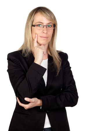 eyestrain: Pensive businesswoman with glasses isolated on white background Stock Photo
