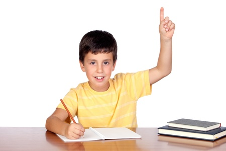 Student child in the school isolated over white background Stock Photo