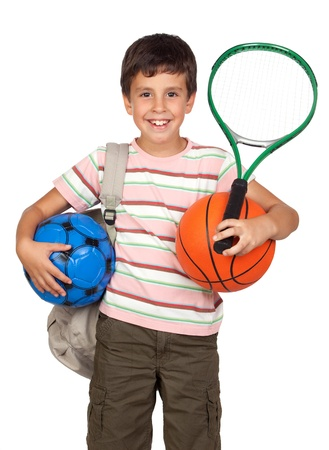 Busy child with basketball, racket and soccerball isolated on white background