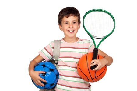 soccerball: Busy child with basketball, racket and soccerball isolated on white background