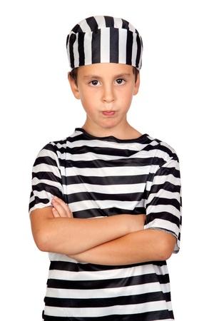 Sad child with prisoner costume isolated on white background Stock Photo - 10767849