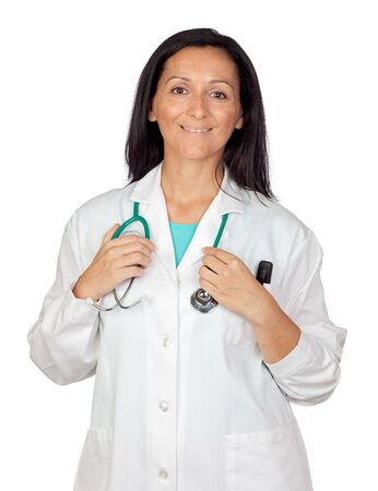 Adorable medical woman isolated on a over white background with focus on the hand photo