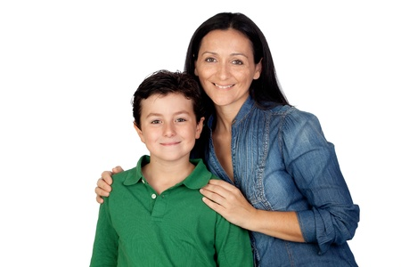 Adorable mother and her beautiful son isolated on white background photo