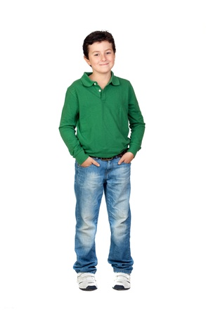 Beautiful boy dressed in green isolated on a over white background photo