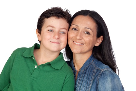 Adorable mother and her beautiful son isolated on white background Stock Photo - 11126523