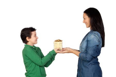 Mother's Day. Child giving a gift to his mother isolated on white background Stock Photo - 11126518