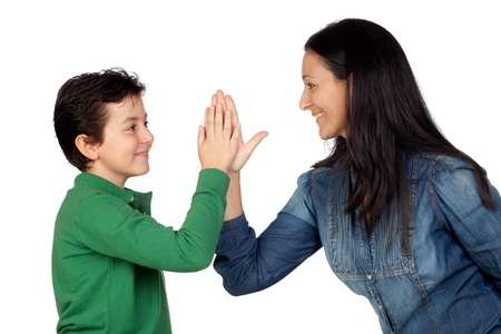 Adorable mother and her son making a handshake isolated on white background photo