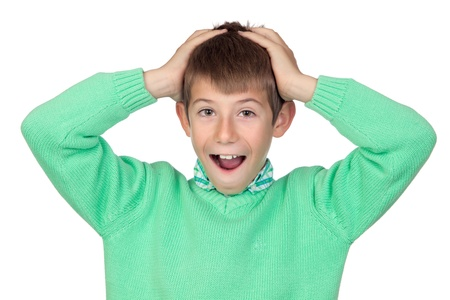 Surprised boy isolated on white background Stock Photo - 11126556
