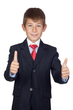 Little businessman saying Ok isolated on a over white background photo