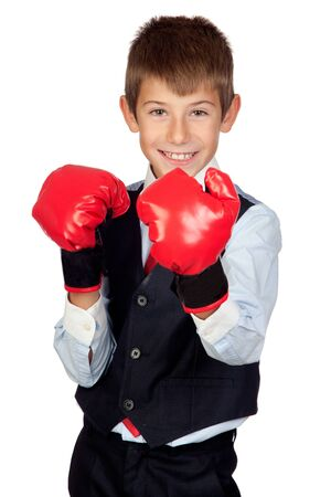 Businessman with boxing gloves isolated on a over white background photo