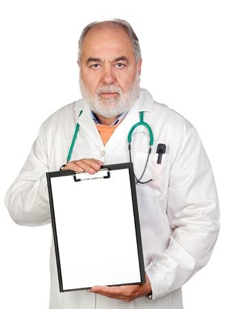 Senior doctor with clipboard and blank paper isolated on white background photo