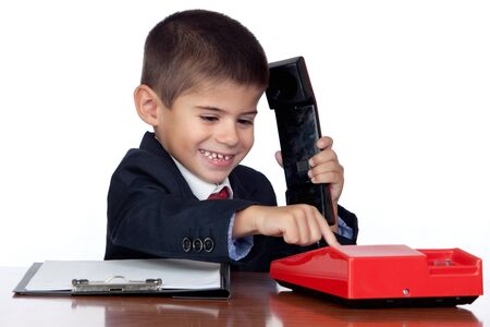 Little businessman marking a red phone isolated on a over white background Stock Photo - 11406043