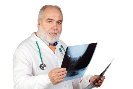 hoary: Senior doctor with hoary hair with a radiography isolated on white background