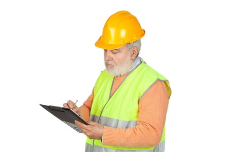 engineering clipboard: Senior inspector with hoary hair and clipboard isolated on white background