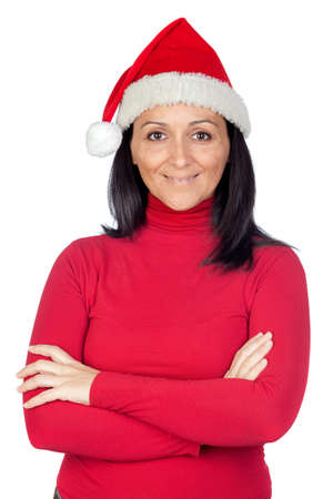 Beautiful girl with Christmas hat on a over white background photo