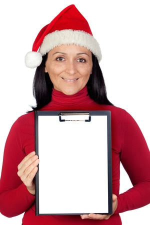 Beautiful girl with Christmas hat and a clipboard on a over white background photo