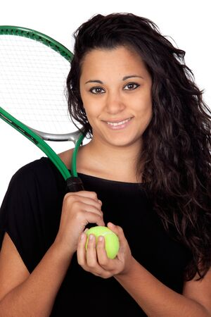 Attractive girl with a tennis racket isolated on white background photo