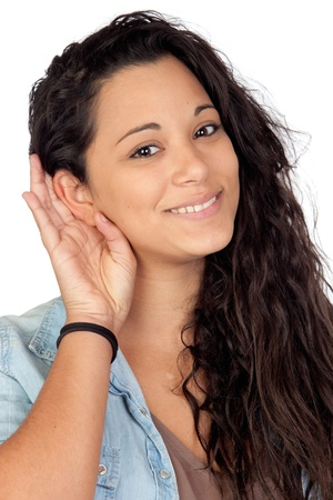 Attractive woman listening isolated on a over white background photo