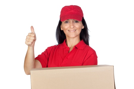 Brunette dealer with red uniform isolated over white background photo