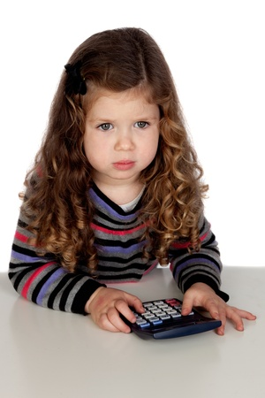 Adorable baby with a calculator isolated over white background photo