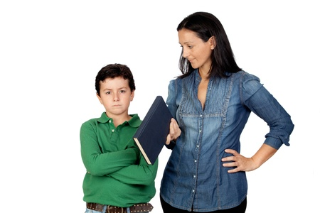 Mother saying his anger child to read a book isolated on white background photo