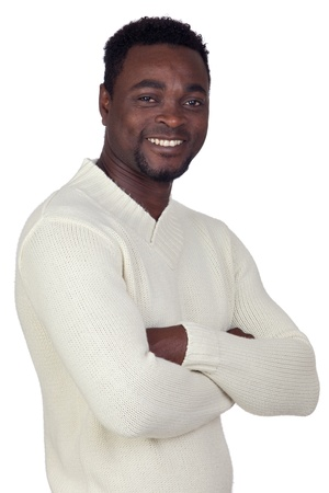 happy black man: Attractive african man isolated on a over white background Stock Photo