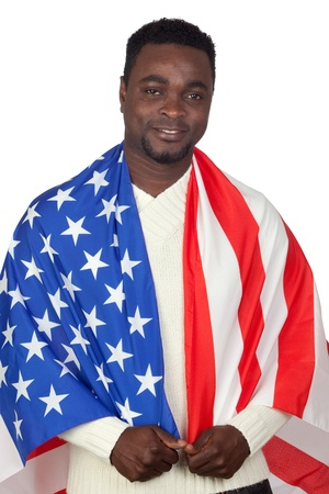 Attractive african man with a American flag isolated on a over white background photo