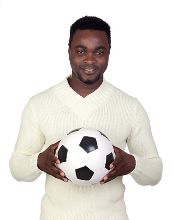 Attractive african man with a soccer ball isolated on a over white background Stock Photo - 12005020