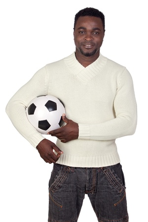 Attractive african man with a soccer ball isolated on a over white background Stock Photo - 12005090