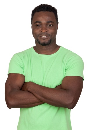 Attractive african man isolated on a over white background photo