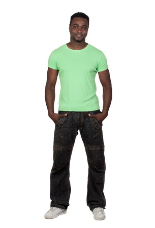 men casual: Attractive african man isolated on a over white background Stock Photo