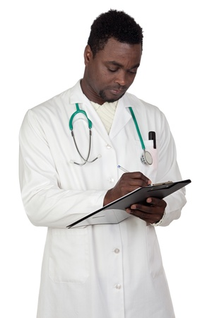 African american man doctor writing a over white background photo