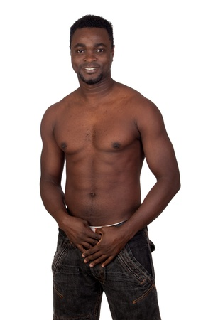 Attractive african man with bare chest isolated on a over white background