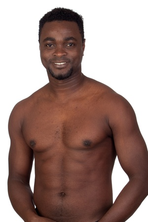 Attractive african man with bare chest isolated on a over white background photo