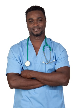 African american doctor with blue uniform isolated on a over white background photo