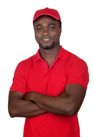 courier man: Worker courier with red uniform isolated on a over white background
