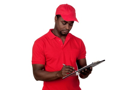 Worker courier with red uniform isolated on a over white background photo