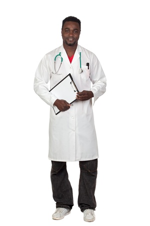 African american man doctor with clipbaord isolated on a over white background photo