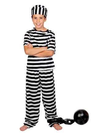 prisoner ball: Adorable child with prisoner ball isolated on white background