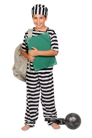 Student child with prisoner costume isolated on white background Stock Photo - 12373782