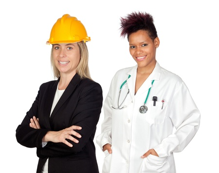 Couple of woman workers isolated over white Stock Photo - 12373797