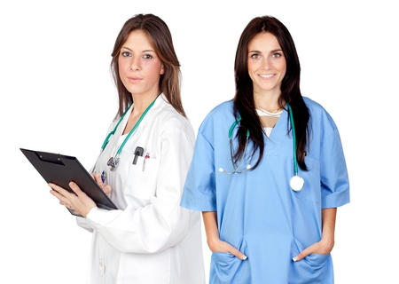 Two doctor women isolated on a over white background photo