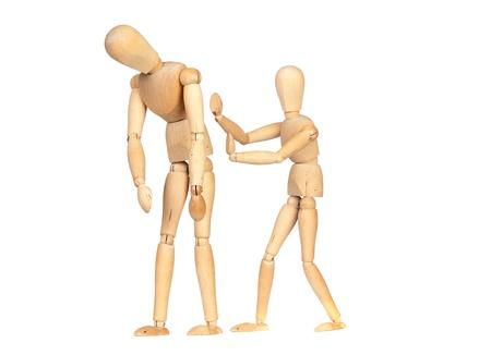 alicaído: Muñeca cabizbajo, con otro empujón para animar aisladas sobre fondo blanco
