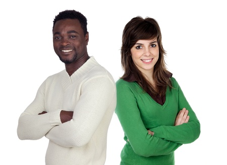 Brunette woman and attractive african men isolated on a over white background photo