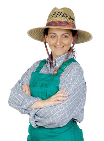 Attractive happy woman dressed of gardener a over white background photo