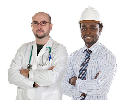 Two happy workers a over white background photo