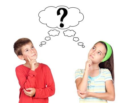 Thoughtful children isolated on white background photo