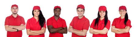 uniforme: Equipo de trabajadores con uniforme rojo aislado sobre fondo blanco